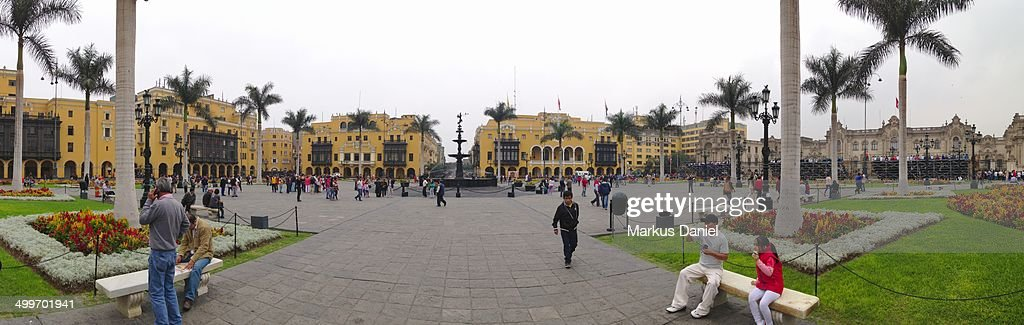 Panorama view of Plaza de Armas in Lima, Peru : News Photo