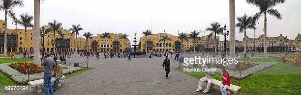 Panorama view of Plaza de Armas in Lima, Peru. This place also has the Lima Cathedral, many historical buildings and is visited by tourists and...