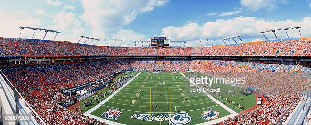 Panorama view of Pro Player Stadium during a game bewteen the Buffalo Bills v Miami Dolphins on December 5 2004 at Miami Florida