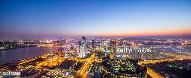 Panorama View of Qianjiang New Town (New CBD district), Hangzhou,China