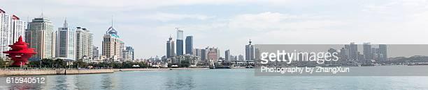 Panorama view of Qingdao city landscape at daytime, Shandong, China.