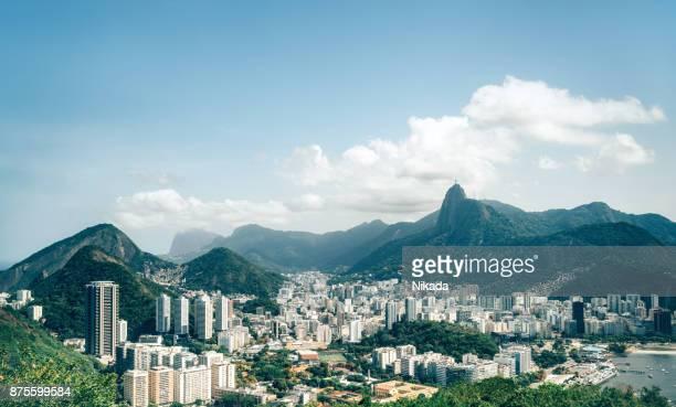 panorama view of rio de janeiro, brazil - rio de janeiro imagens e fotografias de stock