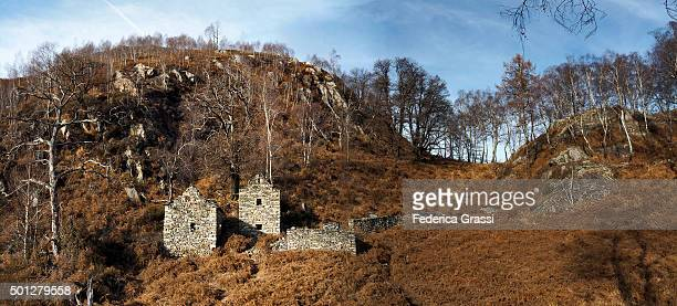 Panorama View of Rural Houses made of local stone on Mt. Colma, Ticino, Switzerland