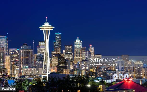 Panorama view of Seattle skyline and Space Needle Tower