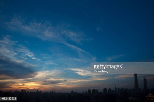 panorama view of  shanghai  skyline - dusk stock pictures, royalty-free photos & images