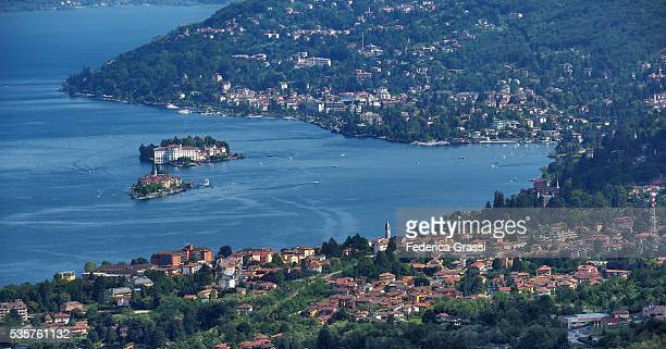 Panorama View of Stresa, Baveno and the Borromean Islands, Lake Maggiore, Northern Italy