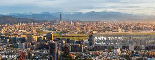 Panorama view of Taipei before sunset , Taiwan