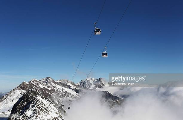 A panorama view of the Austrian Alps is pictured with the cable car of the glacier of Solden on October 4 2010 in Solden Austria