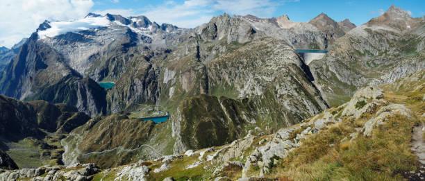 Panorama View of the Basodino Glacier, Lago Zott, Lago di Robiei, Lago Cavagnoli near Robiei, Switzerland