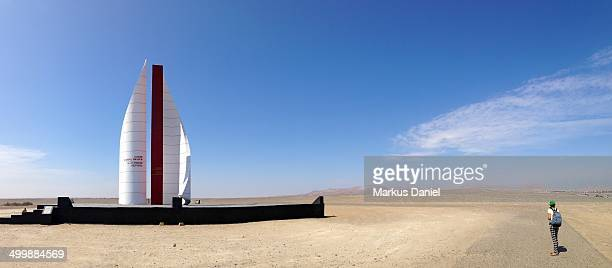 Panorama view of the desert and Monument to General Jose de San Martin, Paracas, Peru on a sunny day with blue sky. San Martin and his fleet stopped...