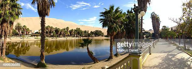 Panorama view of the Huacachina Oasis in Ica
