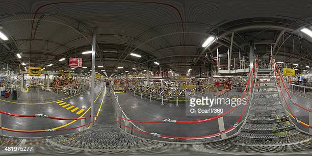 A Panorama view of the production line room where Range Rovers and Land Rovers are built at the Jaguar Land Rover factory on January 10 2014 in...