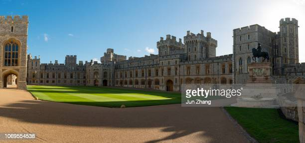 panorama view of the quadrangle of windsor castle, england - windsor castle stock pictures, royalty-free photos & images