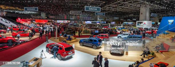 Panorama view of the second press day at the 89th Geneva International Motor Show on March 6, 2019 in Geneva, Switzerland.