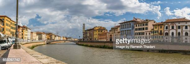 Panorama View of the skyline of Pisa by the Arno riverbanks