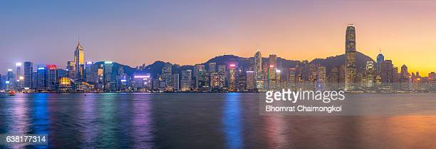 Panorama view of the Symphony of lights in Hong Kong