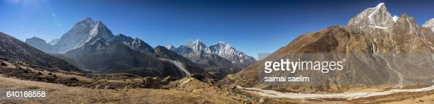 Panorama view of the top of Himalayan mountain range, Everest region