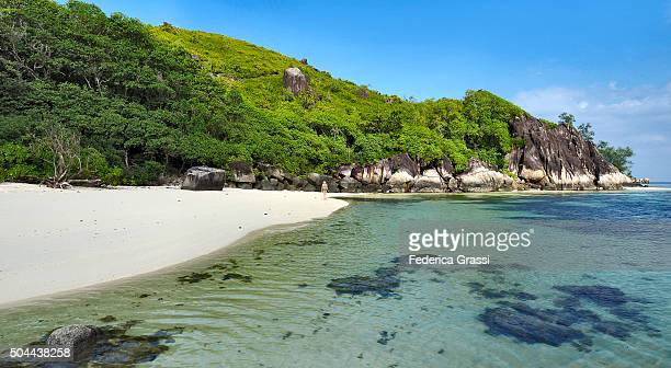 Panorama View of Tropical White Sand Beach and Granite Boulders, Seychelles