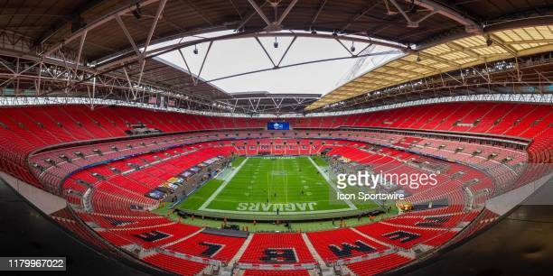 A panorama view of Wembley Stadium before the NFL game between the Houston Texans and the Jacksonville Jaguars on November 03 2019 at Wembley Stadium...