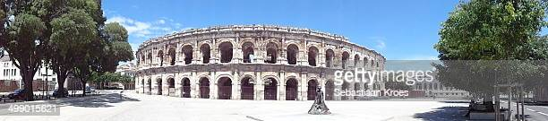 Panorama view on Les Arènes which is a left over of the Roman empire in the city centre of Nîmes in France UnescoLanguedocRoussillon Gard