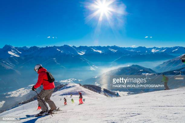Panorama view over the skiing area Serfaus