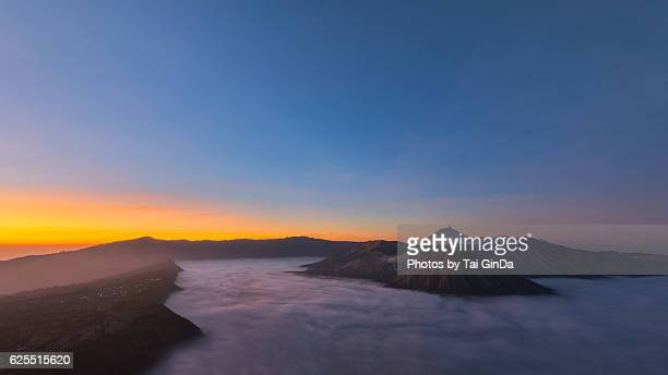 panorama view, sunrise in mount bromo - mt semeru stock pictures, royalty-free photos & images