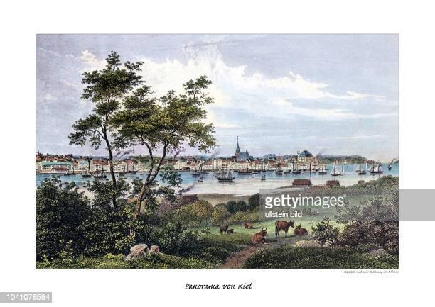 Panorama von Kiel Stahlstich nach einer Zeichnung von PAhrens 1840