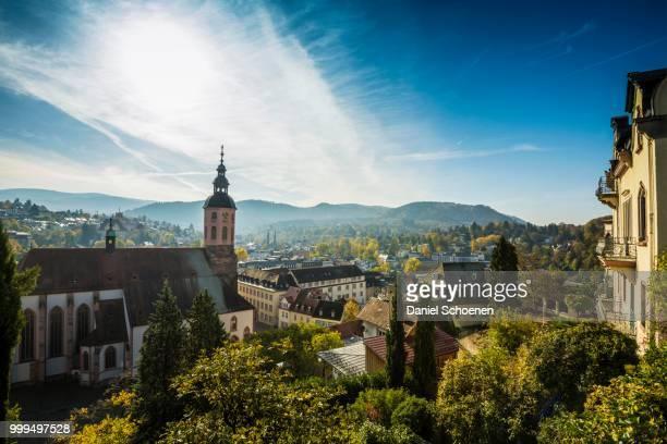 panorama with collegiate church, baden-baden, black forest, baden-wuerttemberg, germany - baden baden stock-fotos und bilder