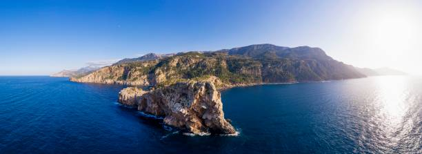 Panorama with Sa Foradada peninsula, near Deia, Serra de Tramuntana, drone shot, Majorca, Balearic Islands, Spain