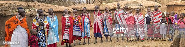 Panorama with women and children i Maasai village, Kenya.
