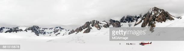 Panorama-Helicopter landed in Mount Cook,New Zealand