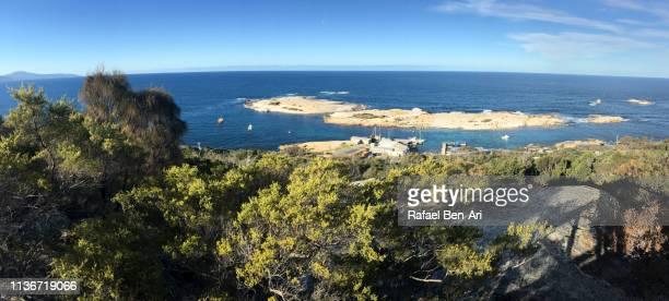 Panoramic aerial landscape of Bay of Bicheno bay Tasmania Australia