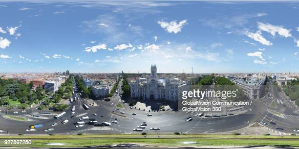 360° panoramic aerial view above madrid's city hall, spain - 360 degree view stock pictures, royalty-free photos & images