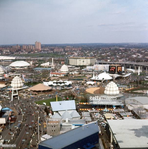Panoramic aerial view facing northeast from the New York State Pavilion observation tower at the New York World's Fair in Flushing MeadowsCorona...