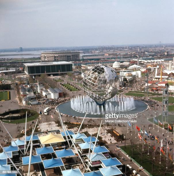 Panoramic aerial view facing northnorthwest taken from atop the New York State Pavilion observation tower at the New York World's Fair Flushing...