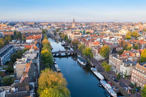 Panoramic aerial view of Amsterdam, Netherlands. 1129845792