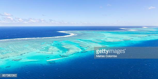 panoramic aerial view of barrier reef, fiji - western division fiji stock photos and pictures