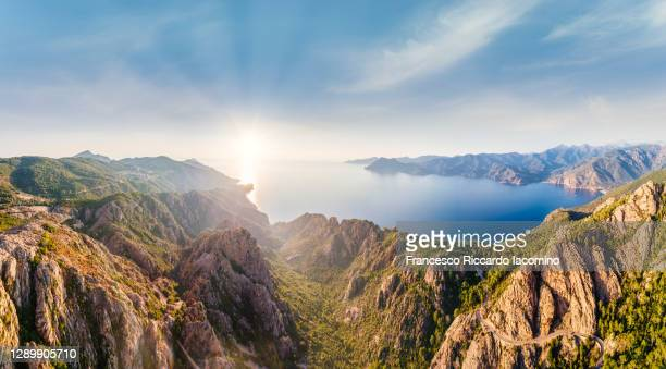 panoramic aerial view of calanches de piana coastline, western corsica island, france, a unesco heritage site - francesco riccardo iacomino france foto e immagini stock
