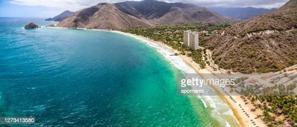panoramic aerial view of cata bay, caribbean sea venezuela - venezuela stock pictures, royalty-free photos & images