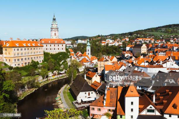 Panoramic aerial view of Cesky Krumlov cityscape, Czech Republic