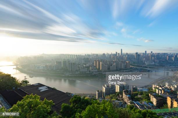 panoramic aerial view of chongqing skyline and cityscape,china - chongqing stock photos and pictures