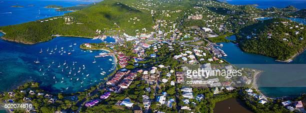 panoramic aerial view of Cruz Bay, St.John, USVI
