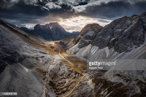 panoramic aerial view of daocheng yading nature reserve in sichuan, china - mountain range stock pictures, royalty-free photos & images