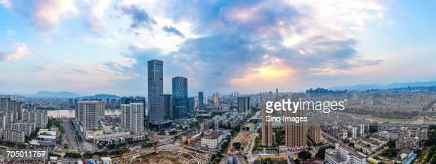 Panoramic aerial view of downtown Fuzhou, China