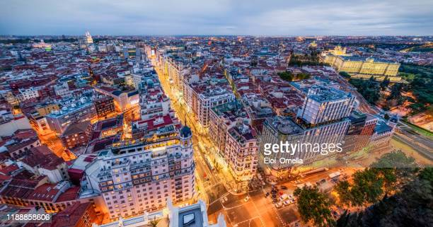 panoramic aerial view of downtown madrid at sunset - madrid stock pictures, royalty-free photos & images