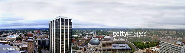 Panoramic, aerial view of Fort Wayne