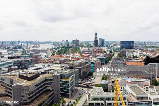 Panoramic aerial view of Hamburg skyline, Germany