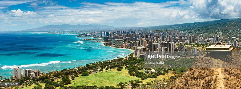 Panoramic Aerial View of Honolulu : Stock Photo