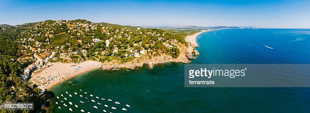 panoramic aerial view of la costa brava - gerona province stock photos and pictures