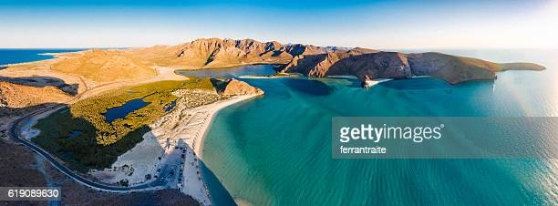 panoramic aerial view of la paz beach mexico - sea of cortez stock pictures, royalty-free photos & images